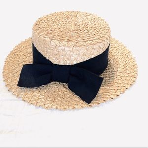 Woven Beach Hat / Black Bow
